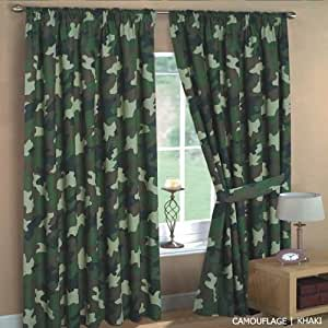 Rideau arm e kaki camouflage 66x72 cuisine for Rideau exterieur camouflage