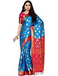 Mimosa By Kupinda Women's Crepe Saree Kanjivaram Style (Latest Designer Sarees/Party wear sarees/New collection sarees Color : Blue (4042-236-WT-2D-AND-RNI)