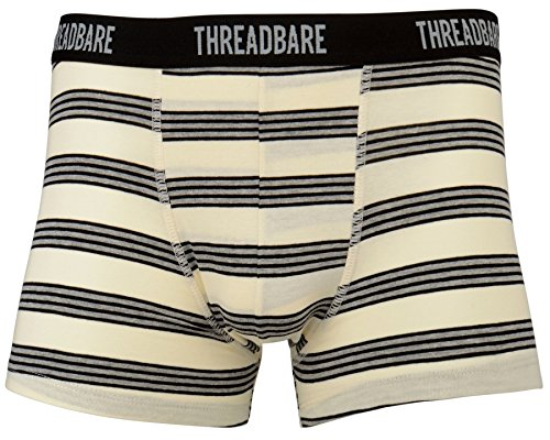 Threadbare Herren Drei Einfarbig Gestreift Hipster Boxers Retroshorts black-grey-white