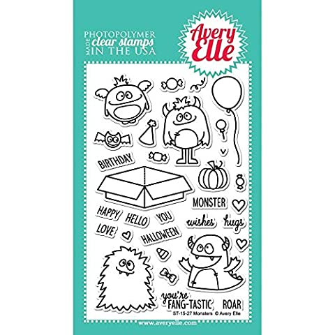 Avery Elle Avery Elle CLEAR STAMP SET 4-Zoll x 6-inch-monsters, andere, mehrfarbig