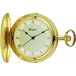 Woodford Mechanical Full-Hunter Pocket Watch, 1053, Men's Gold-Plated Sun-Burst Dial with Chain (Suitable for Engraving)