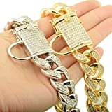 DINGG 18mm Dog Collar, Gold Steel Full Diamond Dog Chain Collar Strong and Durable, Prevent Big Dog Bites,Gold,30