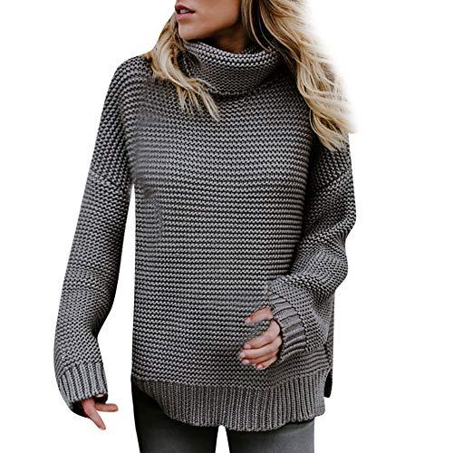 TWBB Damen Sweater,Winter Warme Strick Mantel Turtleneck Knitted Sweatshirt Parka Strickjacke Outwear