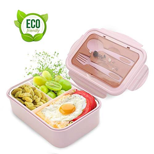 O-Kinee Brotdose Lunch-Boxen Kinder, Bento Box Lunchbox mit 3 Fächern und Besteck, Vesperdose Mikrowelle Heizung (Rosa)