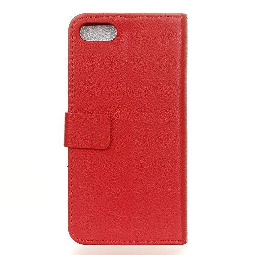 MOONCASE iPhone 7 Bookstyle Étui Housse en Cuir Case Support à rabat Coque de protection Portefeuille TPU Case pour iPhone 7 Léopard Rouge