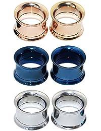 Longbeauty - 3 pares de pendientes de acero inoxidable para dilataciones, varios colores a elegir,…