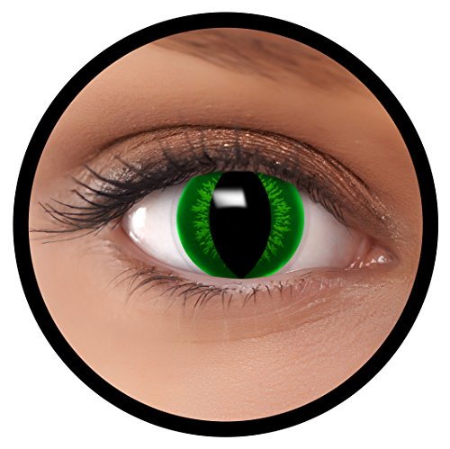 FXEYEZ® Farbige Kontaktlinsen grün Hulk + Linsenbehälter, weich, ohne Stärke als 2er Pack - angenehm zu tragen und perfekt zu Halloween, Karneval, Fasching oder Fasnacht