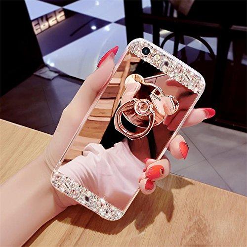iPhone 6S liquide Coque, iPhone 6Coque Bling, iPhone 6s 11,9cm Coque paillettes, CE iPhone 6S 6Luxe Bling Paillettes Diamant Fluide 3d Creative Quicksand Housse, iPhone 6s Coque [avec anneau Béquil 6# Mirror Bear Ring 1
