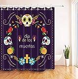 DJSK Cortina de baño Novela Candy Skull Floral Cortinas de Ducha Cruzadas para baño Poliéster Impermeable Tela gótica Baño Producto Cortina Ganchos Set 180 * 200cm