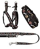 Ein Set - Halsband, Hundegeschirr Step-In, Hundeleine - verstellbar, Zugentlastung, stabil, bequem, weich, Farbe Schwarz - TX-ZOO/Zc-BLACK