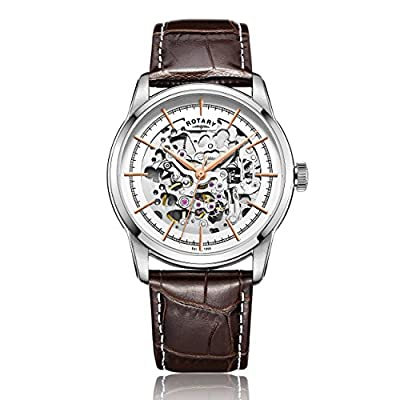 Rotary Men's Automatic Watch with Silver Dial Analogue Display and Brown Leather Strap GS00344/06
