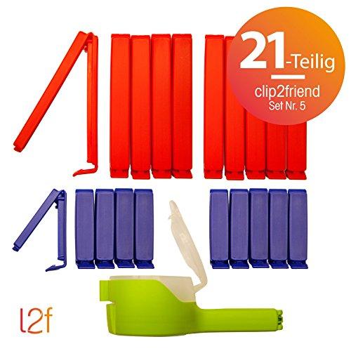 clip2friend Set Nr. 5 (21-teilig)   20 Tüten-Clips/Beutel-Clips/Gefrierbeutel-Verschluss-Clips/Tütenverschließer/Aromaclips/Verschlussklemmen und 1 Ausschütt-Clip (5 cm Durchmesser)   Tüten-Clips/Gefrierbeutel-Clips in den Farben rot (11 cm Länge) und blau (6 cm Länge) (Clip-verschluss)