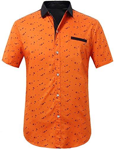 SSLR Herren Druck Typ Casual Kurzarm Hemd Orange