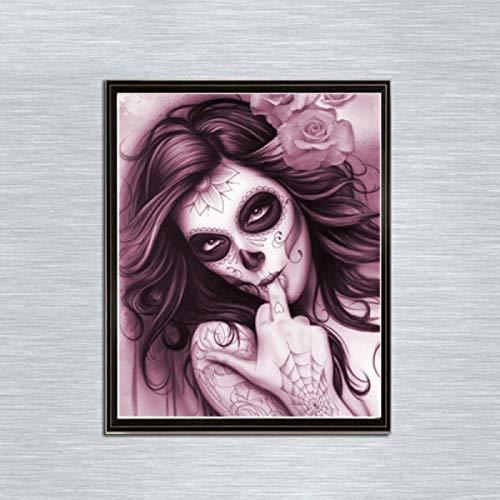 Leezeshaw 5D DIY Diamant Malen nach Zahlen Kits berühmte Strass-Stickerei Gemälde Bilder für Home Decor - Beauty Skelett (30 x 40 cm) Frameless Beauty Skeleton-3