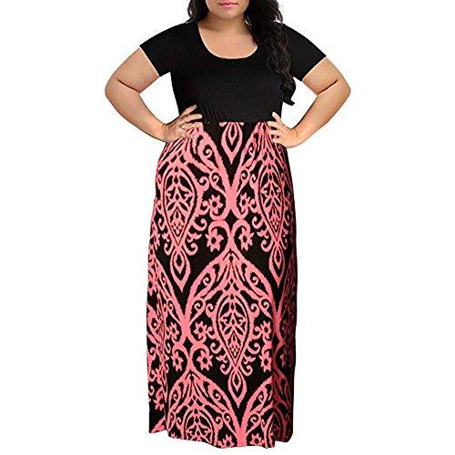 IMJONO Minirock 2019,Damen Chevron Print Sommer Kurzarm Plus Größe beiläufiges langes Maxi-Kleid(Large,Rosa) (Maxi-kleid Damen Chevron)