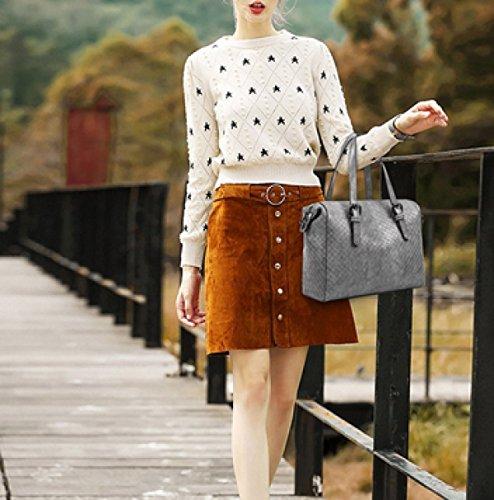 LAIDAYE Mode Frau Tragbare Schulter Umhängetasche Plaid Grey