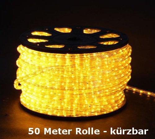 Tubo di luci LED, tubo luminoso 50metri giallo, IP44su rotolo con cavo e spina 230V
