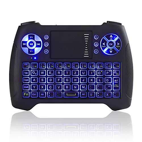 Kabellose Mini Tastatur, Jelly Comb 2.4G Wireless Keyboard mit Touchpad QWERTZ Beleuchtete Tastatur für Smart TV, TV Box, PC, Tablet und Handy
