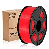 SUNLU PETG 3D Printer Filament, PETG green Filament 1.75 mm, 3D Printing filament Low Odor Dimensional Accuracy +/- 0.02 mm, 2.2 LBS (1KG), Red