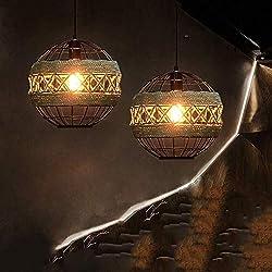 Lustre Led Salon Chambre Lustre Cristal Lustres Pas Cher Lustre Suspension Salon Pendentif Lumière Américain Rétro Personnalité L'Industrie Du Fer Sphérique Lampe Suspendue Corde De Chanvre Régla
