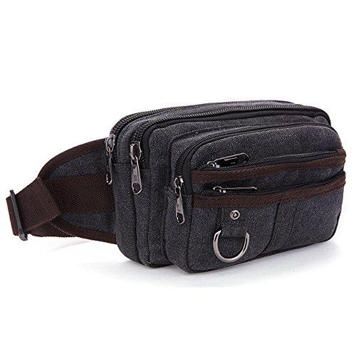 Gendi Fashion Camouflage Man Geldbörse Herren-Casual Taschen Tide Herren Leinwand Taille Taschen schwarz