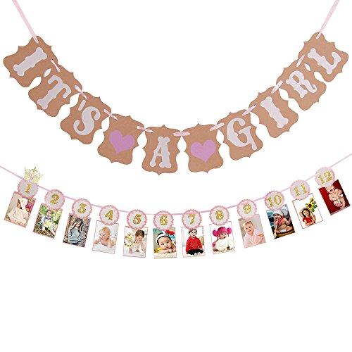 Papier Girlande ES IST EIN MÄDCHEN Wimpelkette Banner Baby Dusche Girlande 12PCS Baby Foto Karten Banner für Happy Birthday