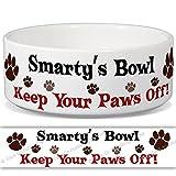 Smarty 's Schüssel–Keep Your Paws Off. Personalisiert Name Keramik Pet Futternapf–2Größen erhältlich