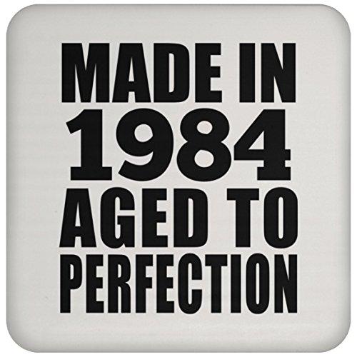 35th Birthday Made In 1984 Aged to Perfection - Drink Coaster Untersetzer Rutschfest Rückseite aus Kork - Geschenk zum Geburtstag Jahrestag Muttertag Vatertag Ostern