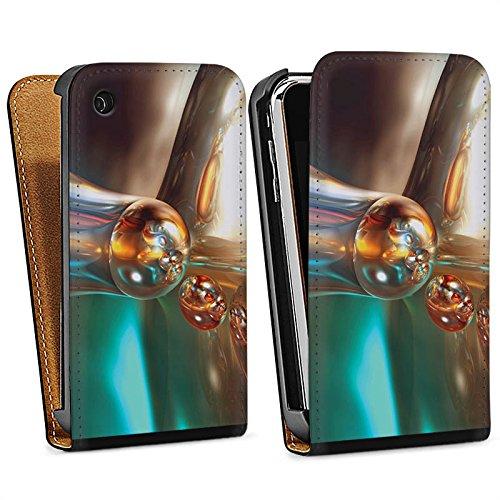 Apple iPhone 4 Housse Étui Silicone Coque Protection Bulles Bulles Chrome Sac Downflip noir