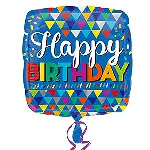 Amscan-3332401Primaria triángulos feliz cumpleaños Foil Globos