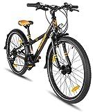 Prometheus Kinderfahrrad 24 Zoll Jungen Mädchen Alu Fahrrad Schwarz Matt Orange ab 8 Jahre mit 21-Gang Gangschaltung - 24zoll BMX Modell 2019