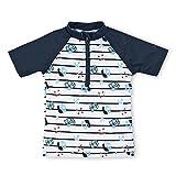 Sterntaler Kinder Jungen Schwimmshirt, Kurzarm-Badeshirt, UV-Schutz 50+, Alter: 6-12 Monate, Größe: 74/80, Weiß/Dunkelblau