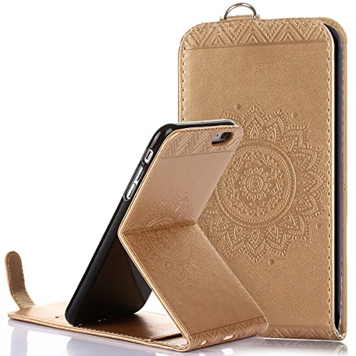 Custodia iPhone 6/6S plus,Ukayfe Flip Cover Case Custodia per iPhone 6/6S plus in pelle PU,iPhone 6/6S plus Lussuosa Astuccio Custodia Cover [PU Leather] [Shock-Absorption] Protettiva Portafoglio Cove Doro
