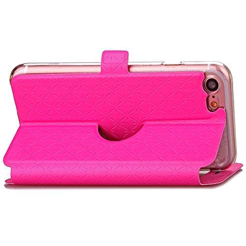 Ledertasche Flip Leather View Cover für Apple iPhone 7 Hülle - Yihya Window View Folio Schutzhülle Slim Bookstyle Case mit Ständer Halter - Blau (Blue) Rose