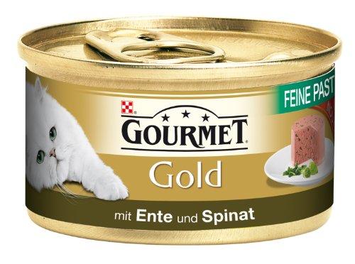 Gourmet Gold Feine Pastete mit Ente & Spinat 85g Katzenfutter (24er Pack) von Purina