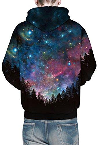 Bettydom Herren Galaxy Stil Unisex Slim Langarm Casual Wear Mann Sweatshirt Kapuzenpullover Hoodies Blue Star