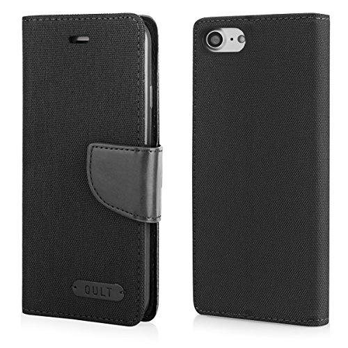 EGO® Bookstyle Handy Tasche mit praktischer Aufstellfuntkion für iPhone 7 Grau Flip Case Magnetverschluss Book Cover mit Kartenfach Wallet Stand Schutz Hülle Canvas Schwarz