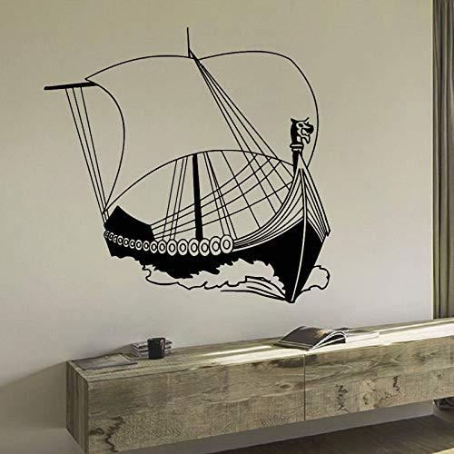 Adornos náuticos antiguo barco vikingo mar océano decoración para el hogar para sala de estar etiqueta de la pared de vinilo vintage extraíble murales de arte 59x57 cm