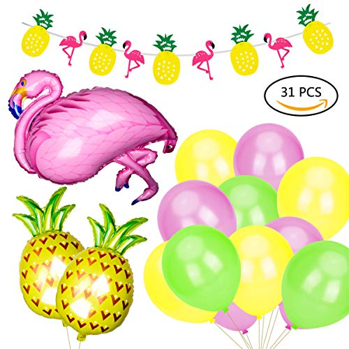 X-Mile Hawaiian Beach Party Deko Set Luau Hawaii Tropischen Sommer Thema Party mit Flamingo Ananas Helium Ballons Dekor Garland Bunting Banner und Party Ballons Pack für Geburtstag