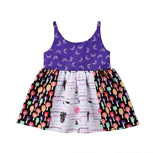 HARRYSTORE Kinder Sleeveless Sling Floral Stitching Halloween Printed Kleid Kleinkind Baby Mädchen Strap Kleid Kostüm Floral Stitching Strap Dress