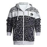 Yvelands Herren Sweatshirt Hoodie Herbst Winter gedruckt Schulter Freizeit Jacke Kragen Mantel lässig(EU-58/L5,Grau3)