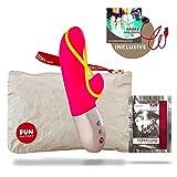 Fun Factory AMORINO rosa Silikon mini Vibrator für sie mit Stimulationsband (inklusive Tasche + Gleitgel) Klitoris und G-Punkt