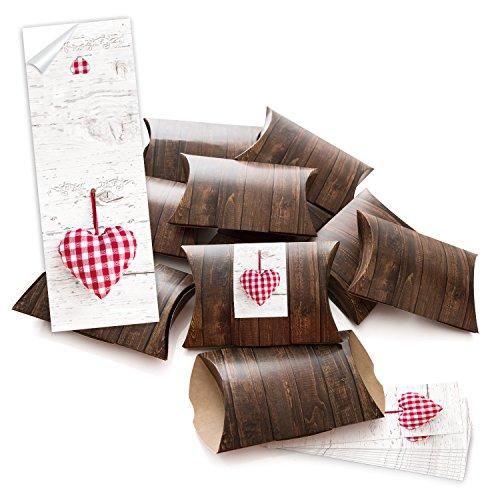100piccolo regalo scatole regalo scatole di cartone marrone (14,5x 10,5+ 3cm altezza) con adesivo fascetta rosso a scacchi bianco del cuore da sè fai da te e riempire–come confezione;