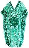 LA LEELA Batik Kappenhülse Maxi Kleid verschleiern Liege Nachtwäsche Kleider Lange Kaftan Baumwolle Bademoden Sundress Damen grün l-4x