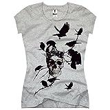 TEE-Shirt, Damen T-Shirt mit Aufdruck Coole Motive. T-Shirt mit Totenkopf und Vögel Druck. Größe XXL,Grau
