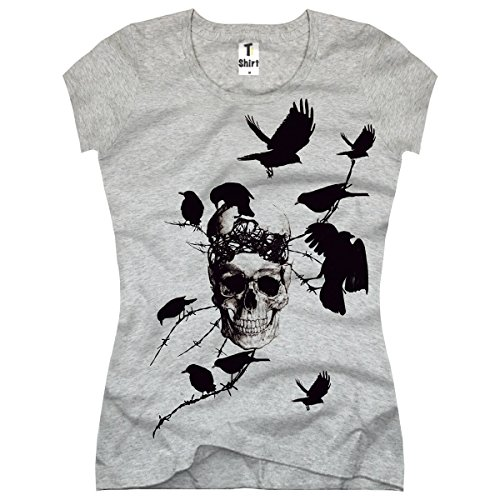 TEE-Shirt, Damen T-Shirt mit Aufdruck . Coole Motive. T-Shirt mit Totenkopf und Vögel Druck. Grau