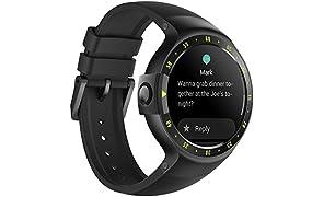 Ticwatch S Sport - Reloj inteligente con GPS, pantalla táctil OLED y resistente al agua, compatible con iOS y Android, sistema Android Wear 2.0, color negro