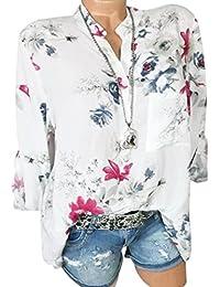 a4dca595c2fd1 HOOUDO Top Sexy,Chemisier Col V Femme Chemise Femme Chemise Femme Chic Plus  Size en Mousseline De Soie Imprimé Floral Manches…