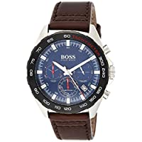 Hugo Boss Mens Quartz Watch, Analog Display and Leather Strap 1513663