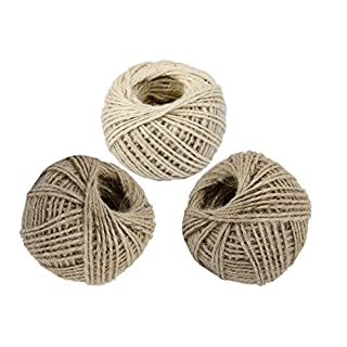 YIRANFANTASY 3 Roll 50M (Total 150M) Natural Garden Jute Twine, Wrap Gift Hemp Rope Code String for Floristry, Tags, Gifts, DIY Arts&Crafts, Decoration 2MM (2 Brown, 1 White)